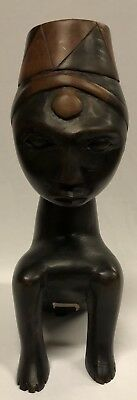 Vintage Carved Wooden Seated Tribal Figure ABC Handcrafted from Kenya