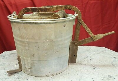 VINTAGE Victor Galvanized Metal Mop Bucket w/ Wood Rollers Made In USA