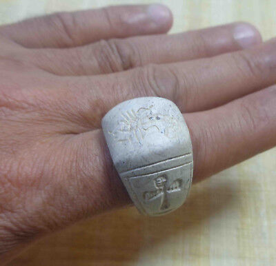 Egyptian Ver Rare Faience Scarab Pharaoh Ankh Finger Ring Seal Hieroglyphic #163