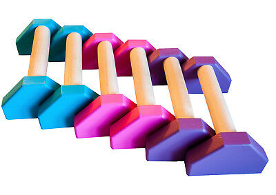Wooden Mini Portable Parallettes Handstand Gymnastics push up bars Pink purple t