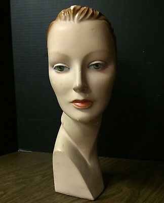 Art Deco Mannequin Head Ladies Hats Home Decor Chalk Plaster Fashion 1920-30s