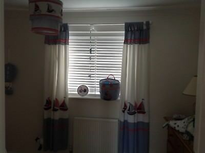 JoJo Maman Bebe Nautical Lined Curtains, Lampshade, Clock, Storage Bag Tie Backs