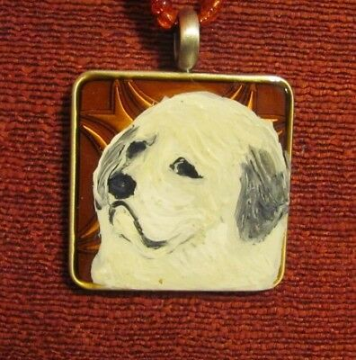 Great Pyrenees hand painted on square metal pendant/bead with red inset/ necklac