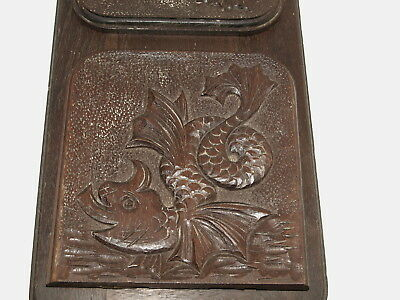 Oak Book Slide With Arts And Crafts Carved Stylised Dolphins