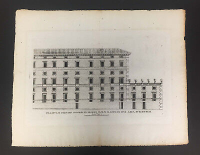 Antique Original Architectural Engraving By Andrea Palladio Circa 1694 With Cert