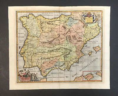 Antique Map Of Spain And Portugal - Hispaniae Veteris Et Novae Descriptio