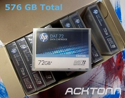 8  HP DAT72 Data Tape Cartridges 72GB  NEW Factory Sealed P/N C8010A