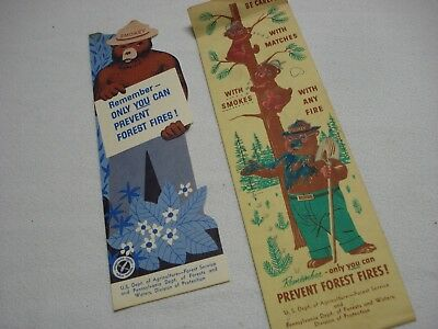 Lot Of 2 Vintage 1956 / 1960 Smokey The Bear Prevent Forest Fires Bookmark Ruler
