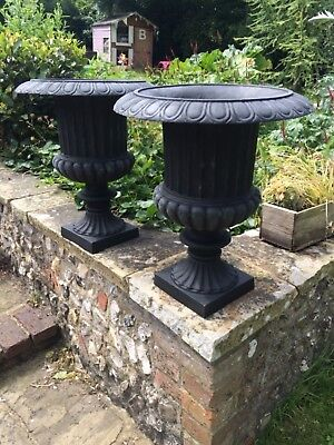 """An impressive pair of cast iron, Victorian style matching urns, 20"""" tall"""