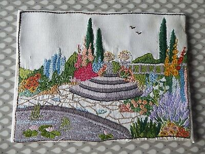 Vintage Hand Embroidered Picture- Stunning English Country Garden