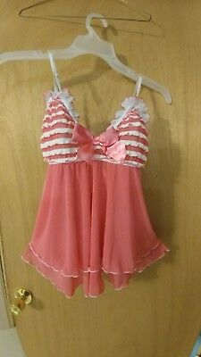 Lingerie Babydoll Cami Pink & White Ruffled Cups Frilly Sheer Bottom OS/XL