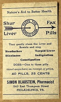 Vintage Pharmacy Label- Shur Fax Liver Pills- Philadelphia Pharm-40 Pills 25cent