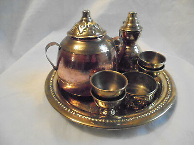 Antique Asian/Indian Embossed Copper and brass Tea set and serving tray
