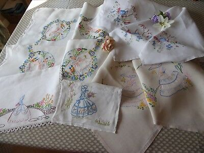 VINTAGE HAND EMBROIDERED LINENS x 5 PIECES OF CRINOLINE LADIES INC.3 TABLECLOTHS