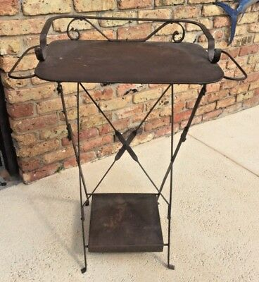 RARE 1900's FRENCH METAL FOLDING TRAVEL WASH STAND BATHROOM BABY DRESSING TABLE
