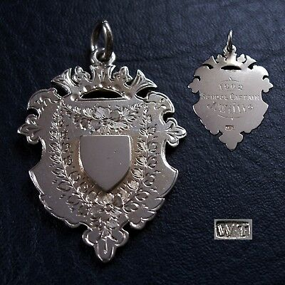 1902 Edwardian solid silver fob medal for a pocket watch chain. Larger size 16g.