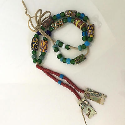 Antique Native American Indian African Trade Bead Necklace Strung on Deer Hide