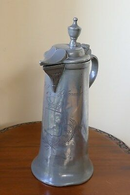 ANTIQUE GERMAN 18th CENTURY PEWTER FLAGON 1795