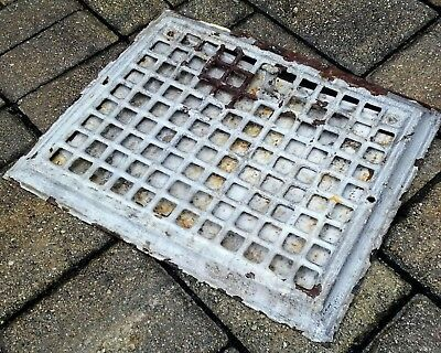 Antique floor heat grate register vent cover cast iron old house salvage vintage