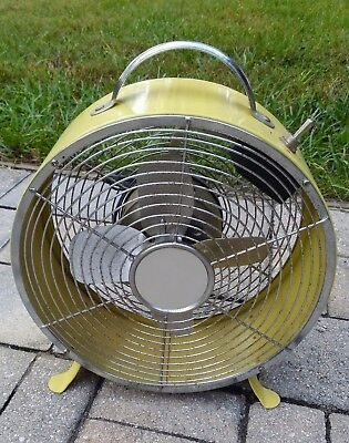 Vintage yellow desk fan table top portable metal personal office retro MCM style