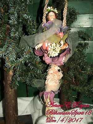 Victorian Style Lady Porcelain Head Hands Artisan Christmas Tassel Ornament