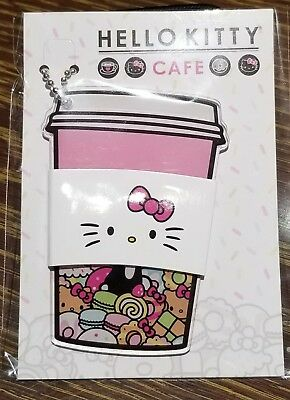 NEW Hello Kitty Cafe Truck Exclusive Acrylic Sanrio Keychain Plastic cup hkc