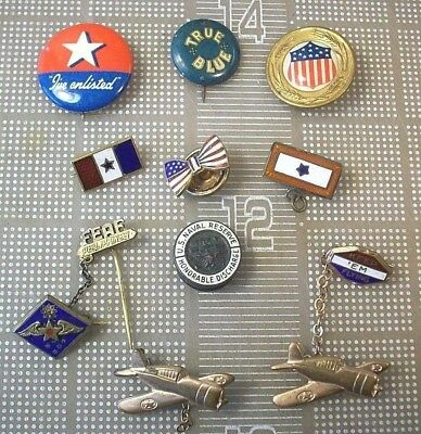 VINTAGE lot of 10 WWII LAPEL PINS PINBACKS KEEP 'EM FLYING, FEAF, SON IN SERVICE