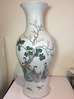 Large Antique Chinese Famille Rose Vase