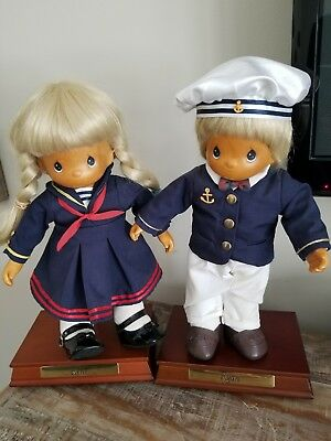 1998 Limited Edition Precious Moments 12 Rene And Ryan Wooden Music Box Dolls