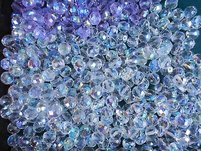300 pcs OLD VINTAGE AB GLASS FACETED  BEADS 10 MM