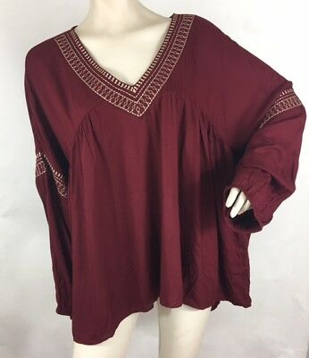 Lane Bryant Womens Plus Size 22/24 Burgundy Gold Embroidered Boho Top NEW $54