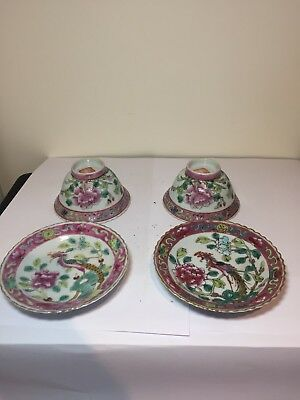 Pair Of Antique Nonya Peranakan Straits Chinese Famille Rose Tea Bowl And Saucer