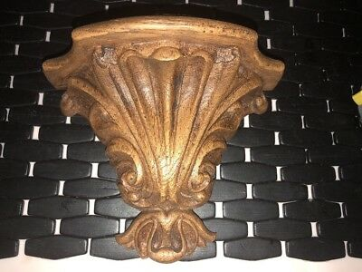 """Antique 7"""" Ornate Carved Oak Hanging Wall Sconce Shelf French Style"""
