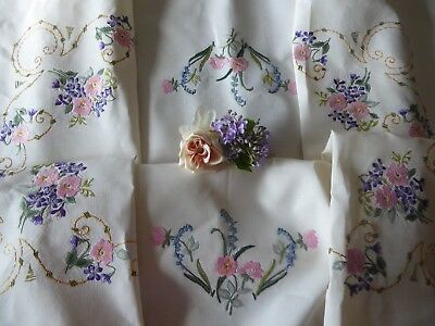 Vintage Hand Embroidered Tablecloth/ Exquisite Roses & Bluebells- 48X76-X-Large
