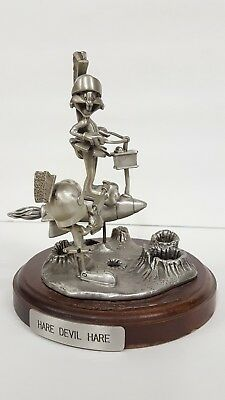 "Marvin the Martian & Bugs Bunny VERY RARE ""Hare Devil Hare"" pewter statue"