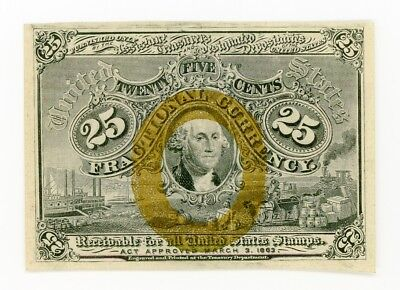 Fractional Currency Note FR 1284 2nd Issue 25C Surcharge S-18-63 AU