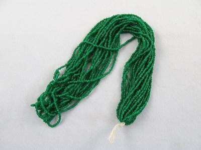 Antique/vintage Hank Of Emerald Green Micro Seed Glass Beads