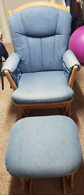 Glider Rocker With Ottoman Nursery Baby Rocking Chair Solid Wood Smooth Glide
