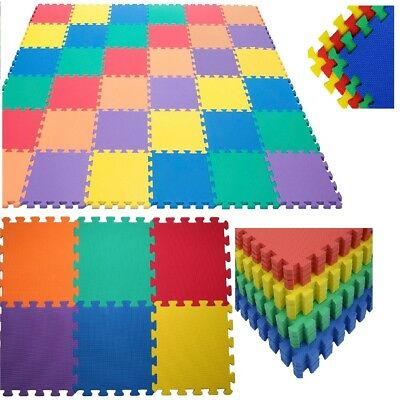 Multicolour Interlocking Eva Soft Foam Mats Play Room Home Floor Tiles Kids New