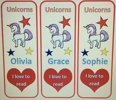 3 Childrens Bookmarks Personalised Unicorns I Love To Read. Laminated. Brand New