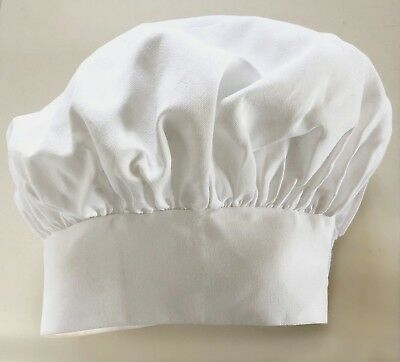 Chef Hat- Heavy Cotton, White with Velcro Closure- Quality Fabric