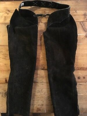 ** Black Full Length Suede Leather Riding ChapsSize Medium **