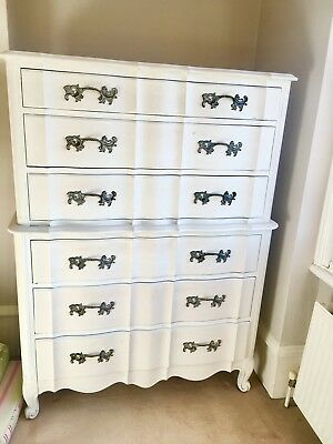 Large Vintage 1950s Chest of drawers painted in shabby chic style.