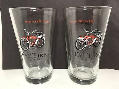 2 New Belgium Brewing Company Fat Tire Amber Ale Beer Glasses Barware Bicycle