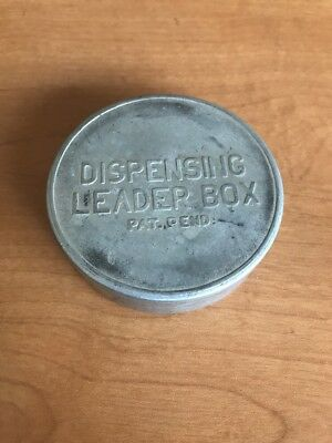 Antique Vintage Metal Dispensing Leader Box Aluminium Old Fly Fishing Rare