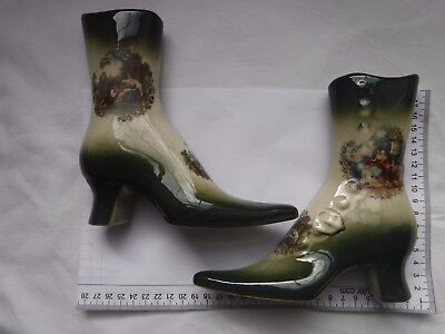 Pair of Vintage Empress Staffordshire Ironstone Shoe / Boot Vase Figurines