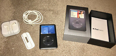 Black APPLE IPOD CLASSIC In box - Used, still works perfectly 80GB w headphones