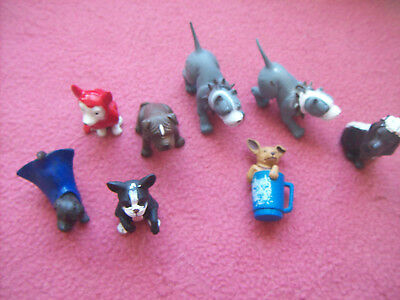 Collectible Mixed Lot of 8 Mini Hood Hounds/A&A Figurines Dogs, Rubber, See Pic.