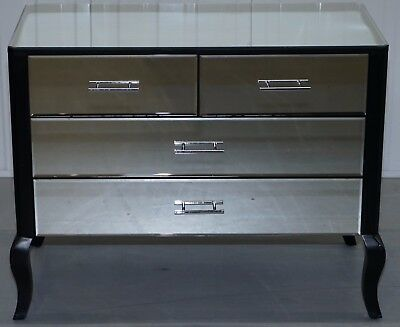 Perfect Condition Venetian Mirrored Glass Chest Of Drawers Ebonised Black Frame