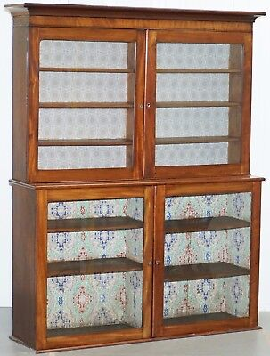 Victorian Library Bookcase Cabinet With Glass Doors Solid Mahogany Rare Find